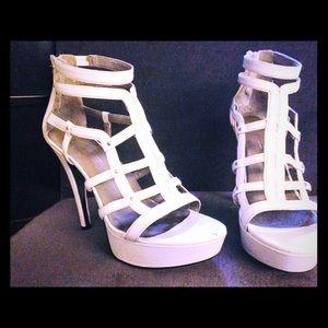 White Leather Gladiator Sandals